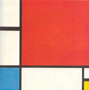 Abstract painting by Mondrian featuring red, blue and yellow shapes