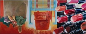 Bright collage-style painting featuring a bag of groceries, a window and lipstick